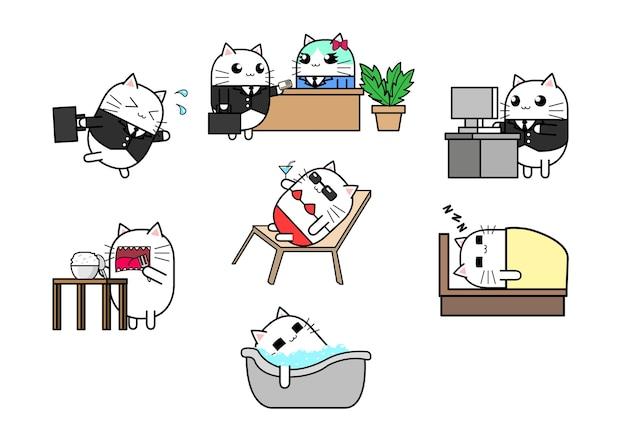 かわいい猫の漫画のキャラクターデザインは、実行中、会議、働く、食べる、バス、睡眠を設定します。