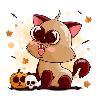 Милый кот мультипликационный персонаж с тыквой и черепом для иллюстрации хэллоуина
