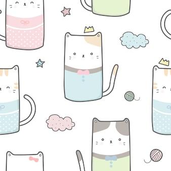 かわいい猫の漫画の落書きパステルのシームレスなパターンの壁紙