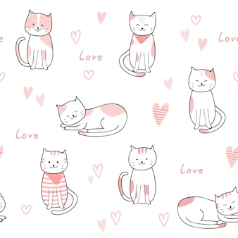 Cute cat cartoon doodle pastel seamless pattern