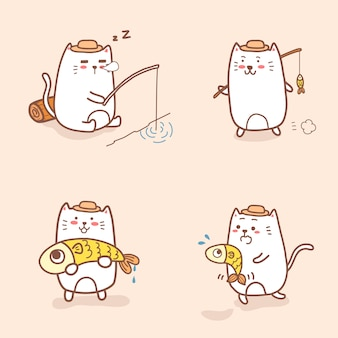 Cute cat cartoon fishing collection