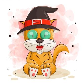 Милый кот мультфильм для иллюстрации хэллоуин