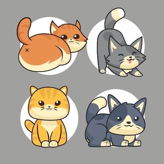 かわいい猫漫画ジェスチャーコレクションセット