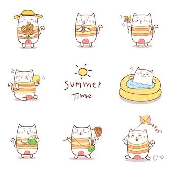 かわいい猫漫画手描き夏コレクション。