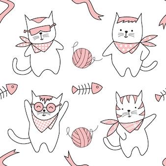 Симпатичный кот мультфильм рисованной бесшовные модели