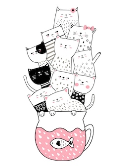 Cute cat cartoon hand drawn style