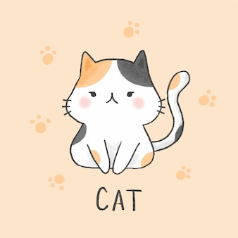 Cute cat cartoon hand drawn style