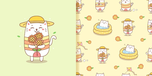 Cute cat cartoon holding a sunflowers for summer.seamless pattern.