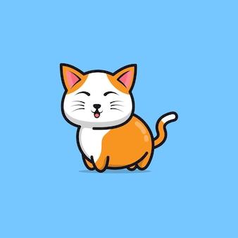 Милый кот мультфильм значок иллюстрации