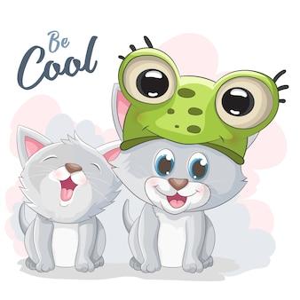 Cute cat cartoon illustration wear frog hat