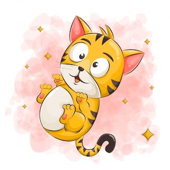 Милый кот мультфильм иллюстрации