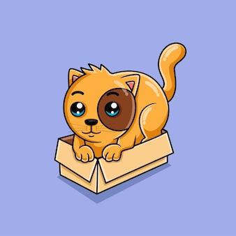 Милый кот мультяшный в коробке