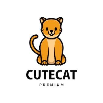 Cute cat cartoon logo  icon illustration