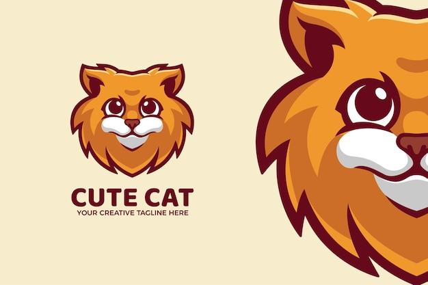かわいい猫漫画のマスコットのロゴのテンプレート