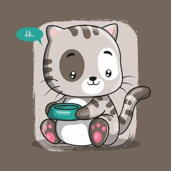 Милый кот мультяшный. принт для футболки. рука рисунок иллюстрация