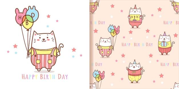 かわいい猫漫画のシームレスなパターン背景。