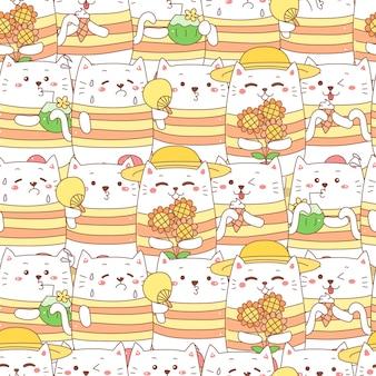かわいい猫漫画夏のシームレスパターン。