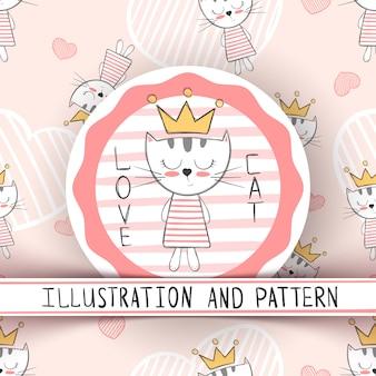Cute cat - cartoon seamless pattern. hand draw