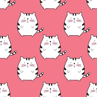 Cute cat cartoon seamless pattern