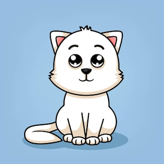 Милый кот мультфильм сидя иллюстрации