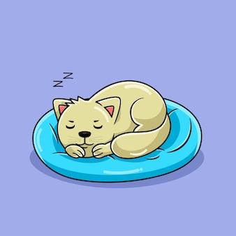 Милый кот мультфильм спит на синей подушке