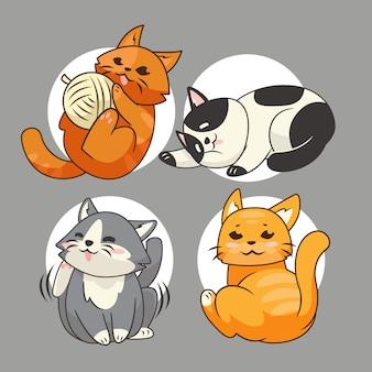 かわいい猫漫画ステッカーコレクションセット
