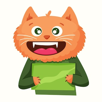 A cute cat in a cartoon style holds a sign. vector illustration
