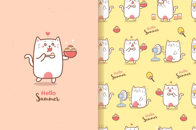 Cute cat cartoon summer seamless pattern eating ice-cream with sweet colors background