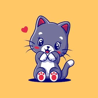 노란색에 고립 된 마음으로 귀여운 고양이 만화