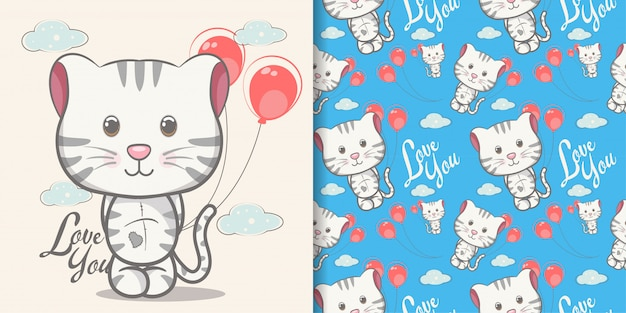 Cute cat cartoon with pattern set