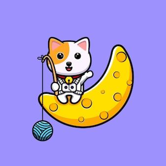 Милый кот ловит клубок пряжи из мультяшного талисмана луны