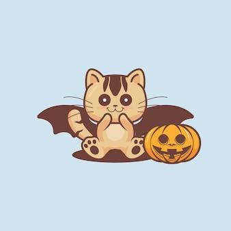귀여운 고양이는 할로윈 이벤트를 축하합니다.
