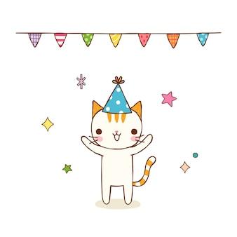 Cute cat character celebrating
