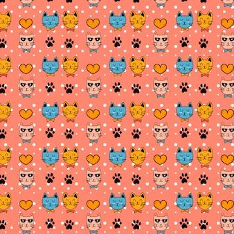 Cute cat character pattern vector