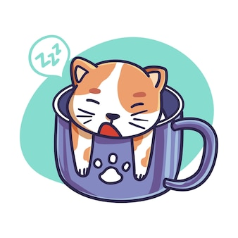 머그잔 일러스트에서 귀여운 고양이 캐릭터 수면