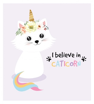 Cute cat character unicorn and watercolor flower crown.