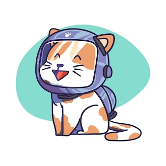 Cute cat character wear space astronaut helmet illustration