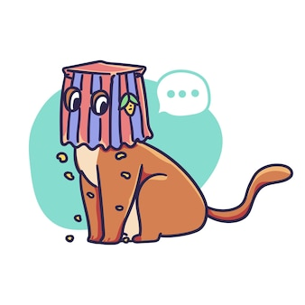 Cute cat character with paper bag mask on its head illustration