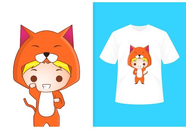Tシャツテンプレートとかわいい猫のキャラクター