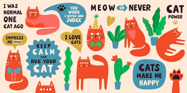 Cute cat characters collection with lettering phrases. doodle illustration set