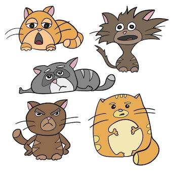 Симпатичные кошачьи персонажи толстые, злые, сонные, сумасшедшие, грустные эмоции. набор векторных рисованной стиль, эскиз иллюстрации шаржа как логотип, талисман, наклейка, смайлики, смайлик