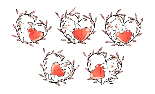 Cute cat characters and heart with floral wreath