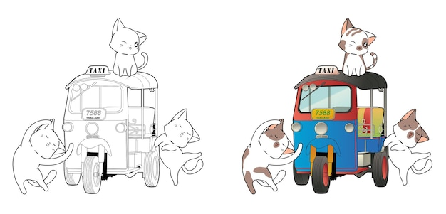 Cute cat characters and thai motor tricycle cartoon coloring page