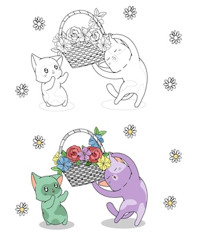 아이들을위한 페이지를 쉽게 색칠하는 꽃 만화 바구니가있는 귀여운 고양이 캐릭터