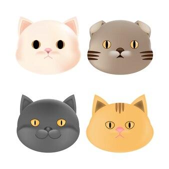 다양한 품종의 귀여운 고양이 캐릭터