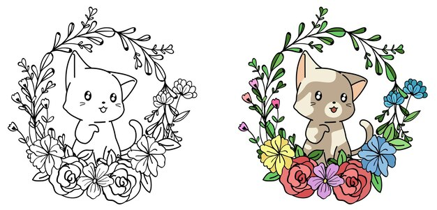 Cute cat characters with wreath cartoon coloring page