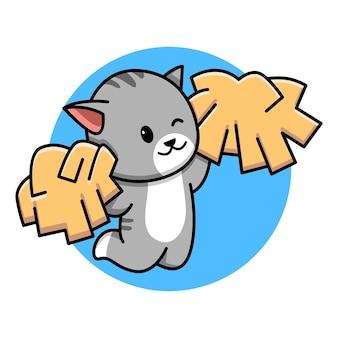 Cute cat cheerleader cartoon illustration