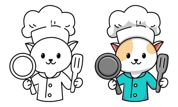 Cute cat chef coloring page for kids