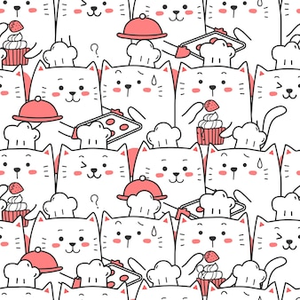 Cute cat chef cooking seamless pattern cartoon.