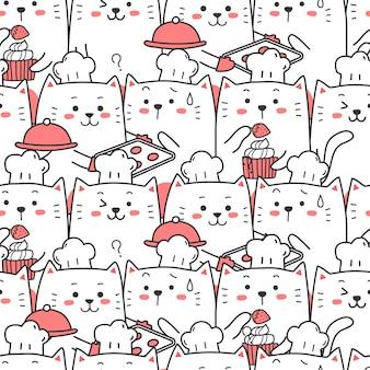 かわいい猫シェフのシームレスなパターン漫画を調理します。